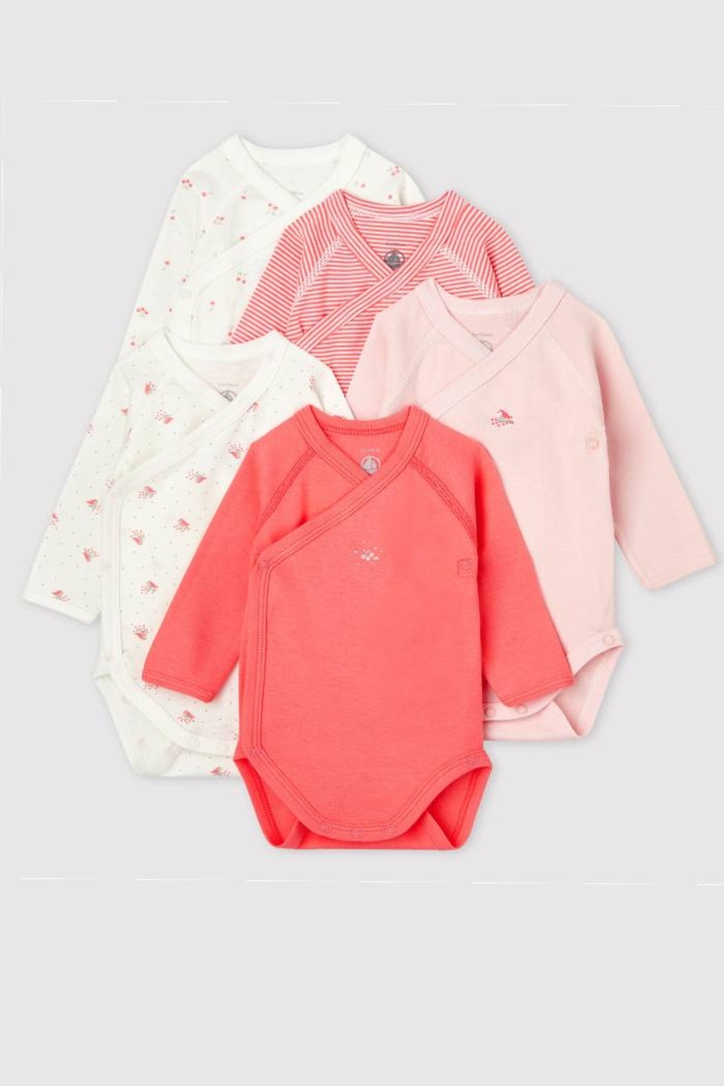 Petit Bateau Long Sleeve Organic Cotton Crossed Bodysuits (Pack of 5) - Front Cropped Image