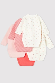 Petit Bateau Long Sleeve Organic Cotton Crossed Bodysuits (Pack of 5) - Front full body