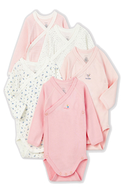 Petit Bateau  New Born Long Sleeve Kimono Pink Bodysuits (Pack of 5) - Product Mini Image