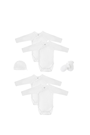 Petit Bateau  Newborn Babies' Long-Sleeved Bodysuit - 5 Piece Gift Set Must Have #1 Baby Girl Essential - Front full body