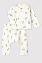 Petit Bateau  Organic Cotton 2 Piece Set in tubique Bunny Print Cardigan And Pants For Baby Newborn - Product Mini Image