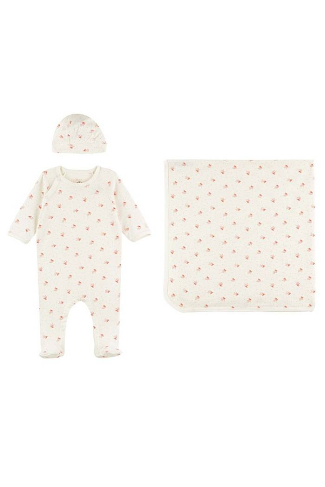 Petit Bateau Organic Cotton Bird Print 3 Piece Set For Baby Girls (Blanket,Footie & Beanie) - Main Image