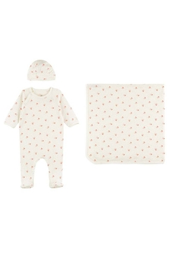 Shoptiques Product: Petit Bateau Organic Cotton Bird Print 3 Piece Set For Baby Girls (Blanket,Footie & Beanie)