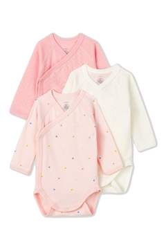 Shoptiques Product: Petit Bateau Pink baby bodysuits with long sleeves (Pack of 3)