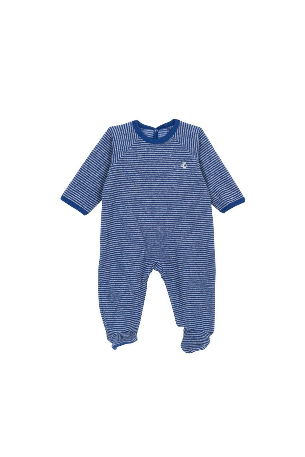 Petit Bateau - Unisex Baby Footie  - Striped terry sleeper with back drop snaps - Front Cropped Image