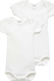 Petit Bateau  Unisex Baby Short Sleeve Bodysuits - White - 2 Pack - 12 Months - Great Baby Gift - Product Mini Image