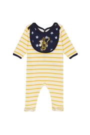 Petit Bateau  Velour Footie with removable navy bib - Front cropped