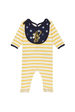 Shoptiques Product: Petit Bateau Velour Footie with removable navy bib