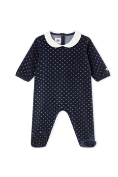 Petit Bateau Velour Sparkle Polka-Dot Footie Pajamas 3-6 Months Unisex - Alternate List Image