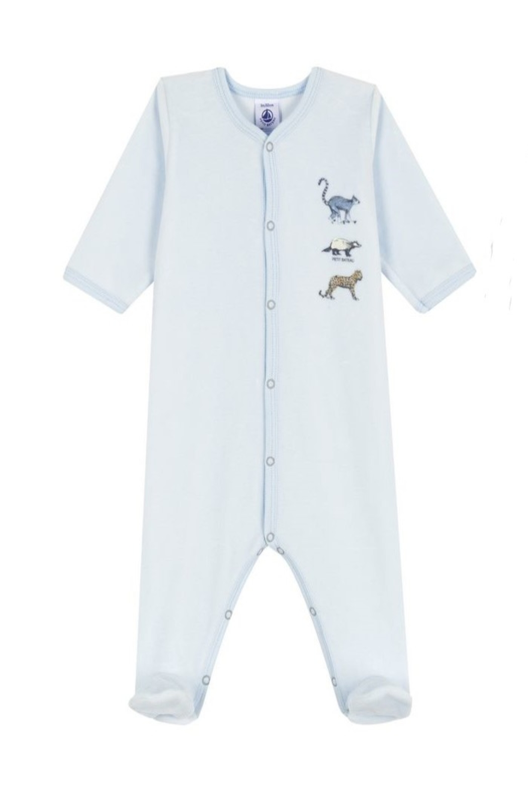 Petit Bateau Zoo Print Infant Sleepers - Front Cropped Image