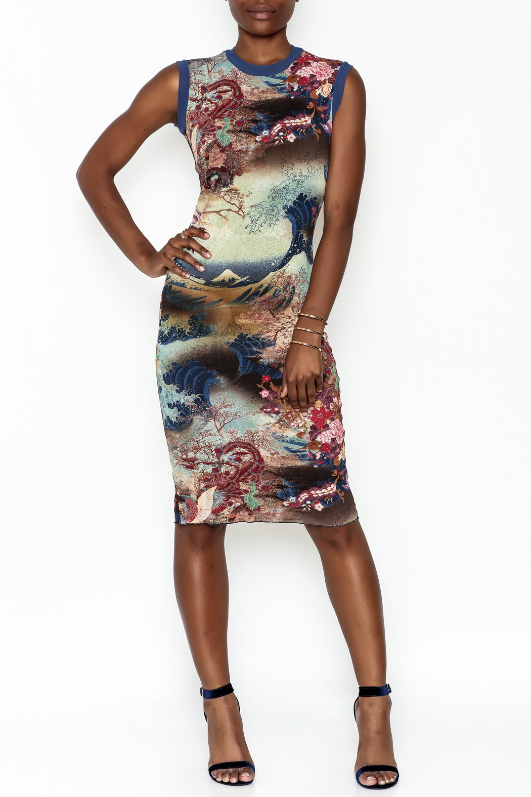 petit pois Printed Dress - Side Cropped Image