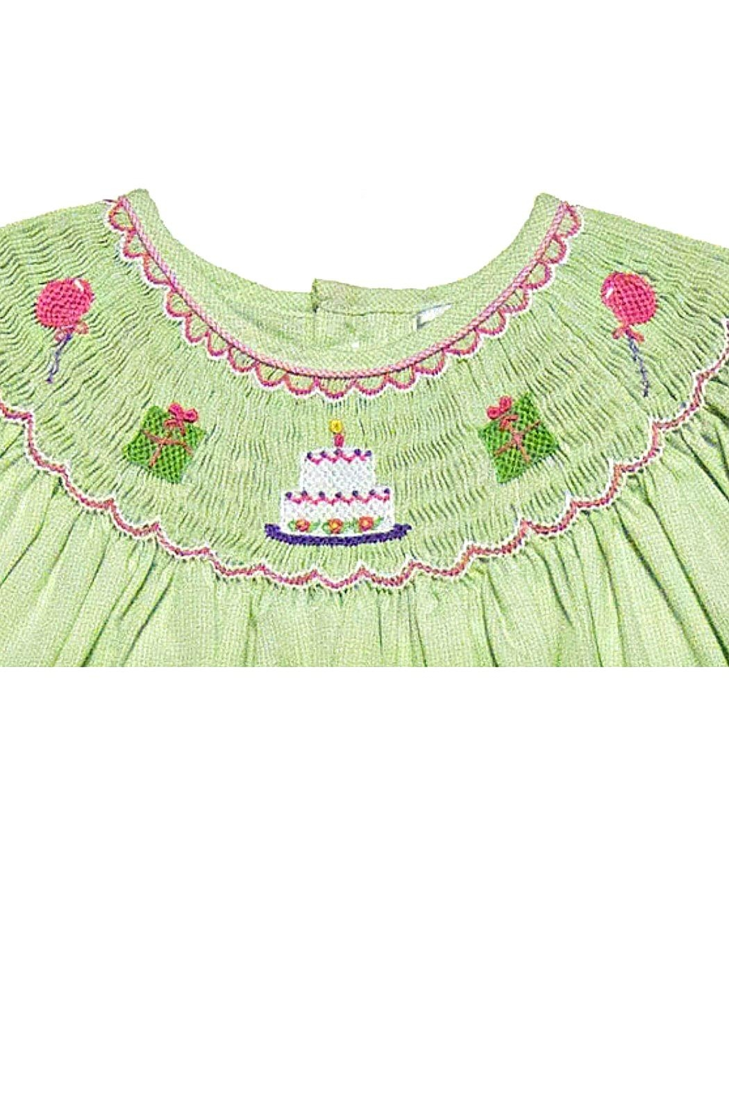 Petit Ami Smocked-Green-Birthday Dress - Front Full Image
