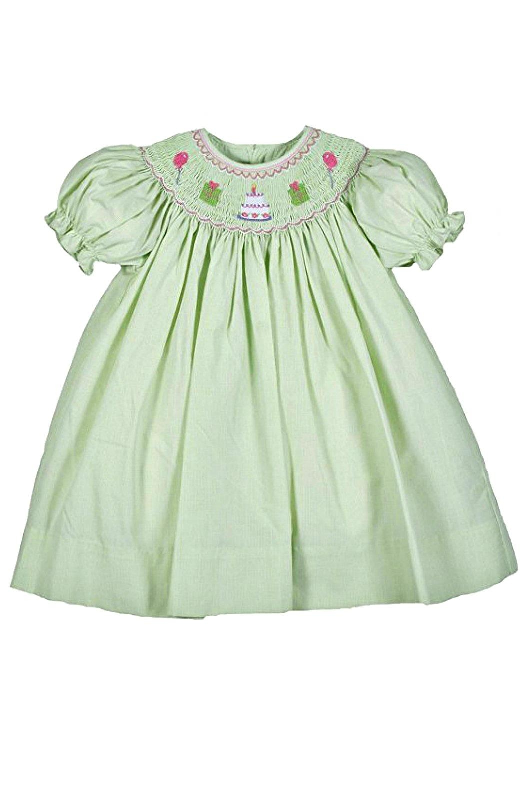 Petit Ami Smocked-Green-Birthday Dress - Front Cropped Image
