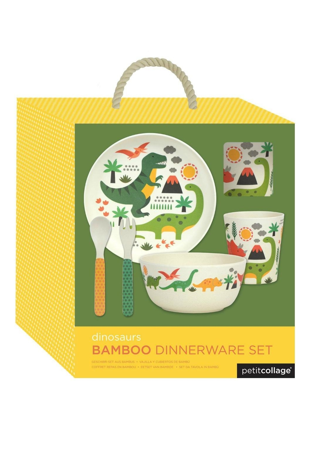 Petit Collage Dino Bamboo Dinnerware - Side Cropped Image