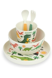 Petit Collage Dino Bamboo Dinnerware - Front full body