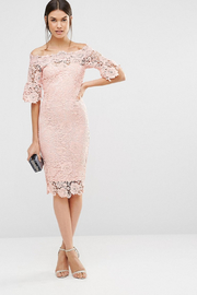 Paper Dolls PETITE Bardot Lace Off the Shoulder Dress - Back cropped