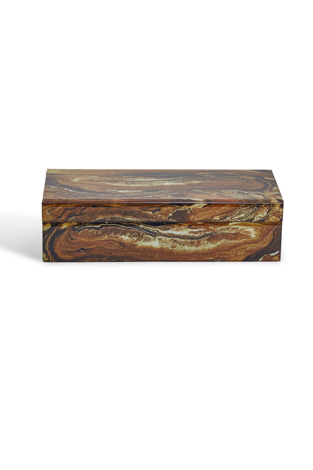 Two's Company Petrified Wood Replica Hinged Box - Front Full Image