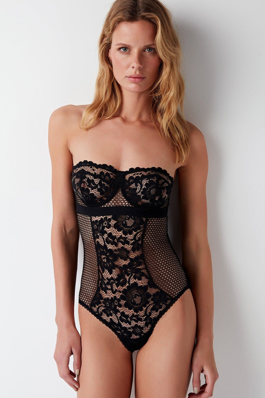 Else Lingerie Petunia Strapless Bodysuit - Front Cropped Image