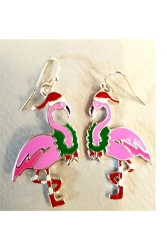 Petunias Holiday Flamingo Earrings - Product List Image