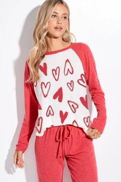 Shoptiques Product: Valentine's Day Emoji Heart All Over Loungwear Set