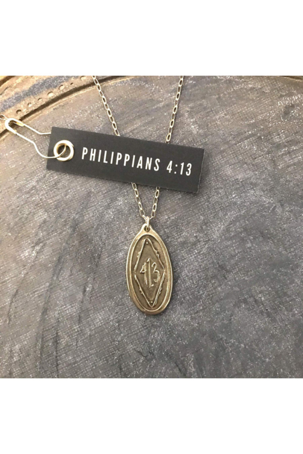 MADISON STERLING JEWELRY PHILIPPIANS 4:13 PENDANT NECKLACE - Front Cropped Image