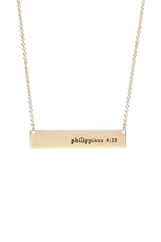 Riah Fashion Philippians 4:13 Bar Necklace - Product Mini Image