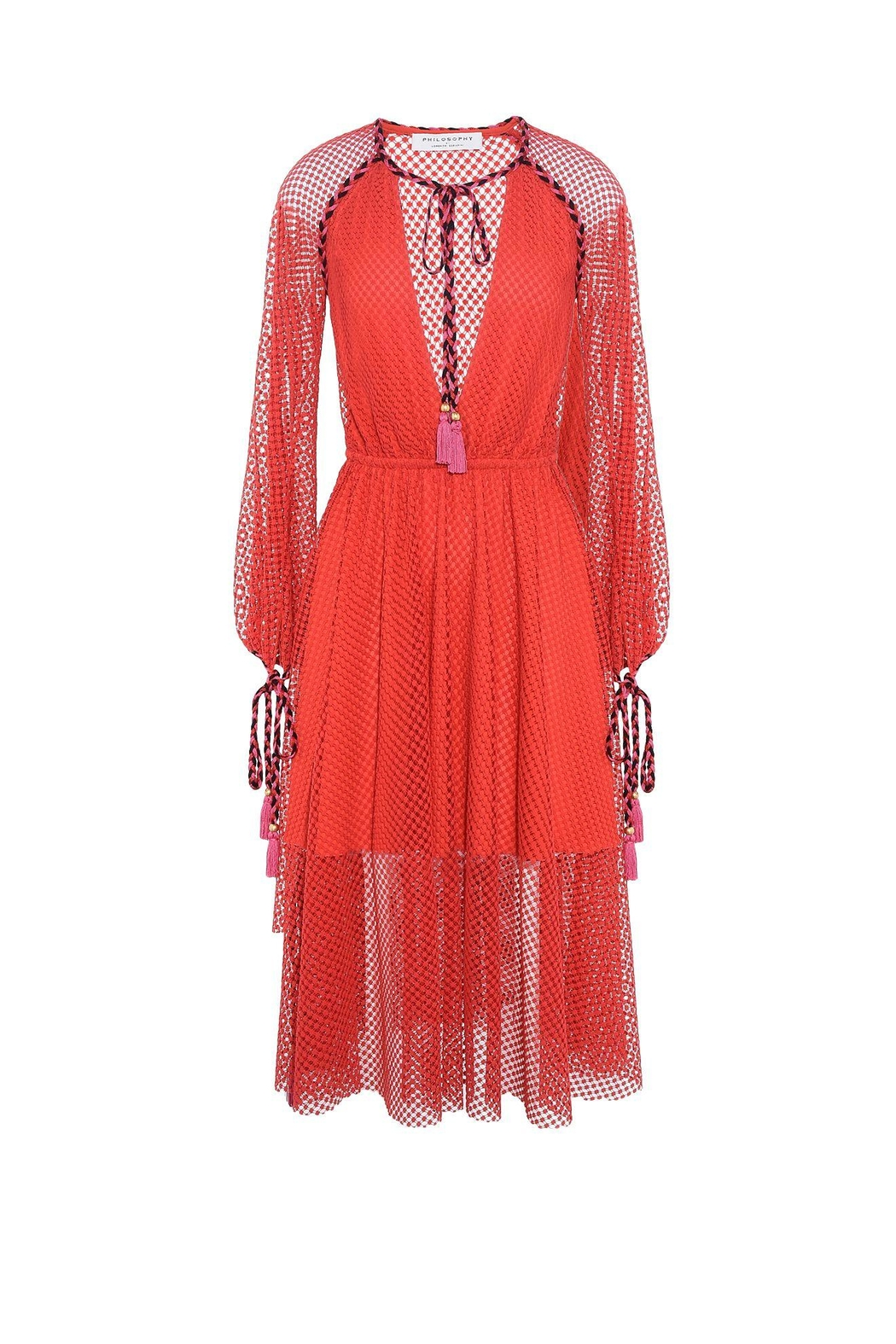 Philosophy di Lorenzo Serafini Red Lace Dress - Side Cropped Image