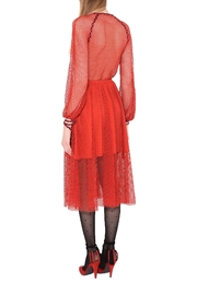 Philosophy di Lorenzo Serafini Red Lace Dress - Front full body