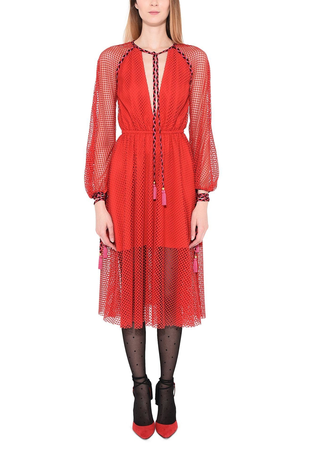 Philosophy di Lorenzo Serafini Red Lace Dress - Back Cropped Image