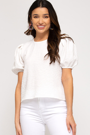 She and Sky Phoebe Textured Top - Front cropped