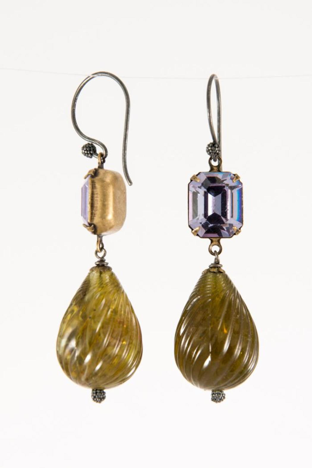 Pia Andersen Jewelry Crystal Brass Earrings - Front Full Image