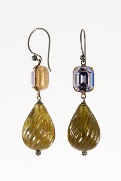 Pia Andersen Jewelry Crystal Brass Earrings - Alternate List Image
