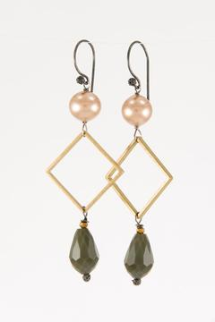 Shoptiques Product: Brass Square Earrings