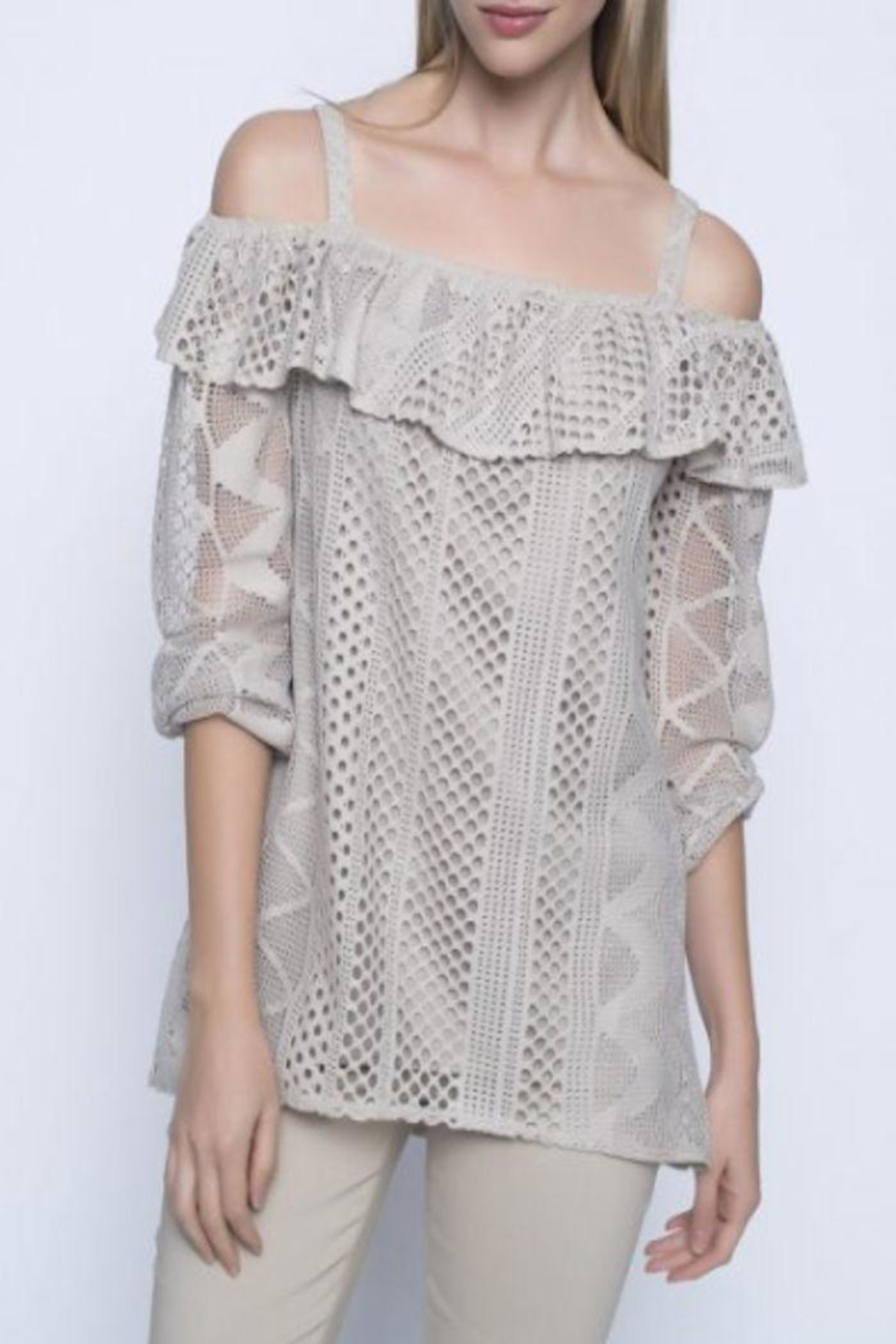 Picadilly Beige Cold-Shoulder Top - Main Image