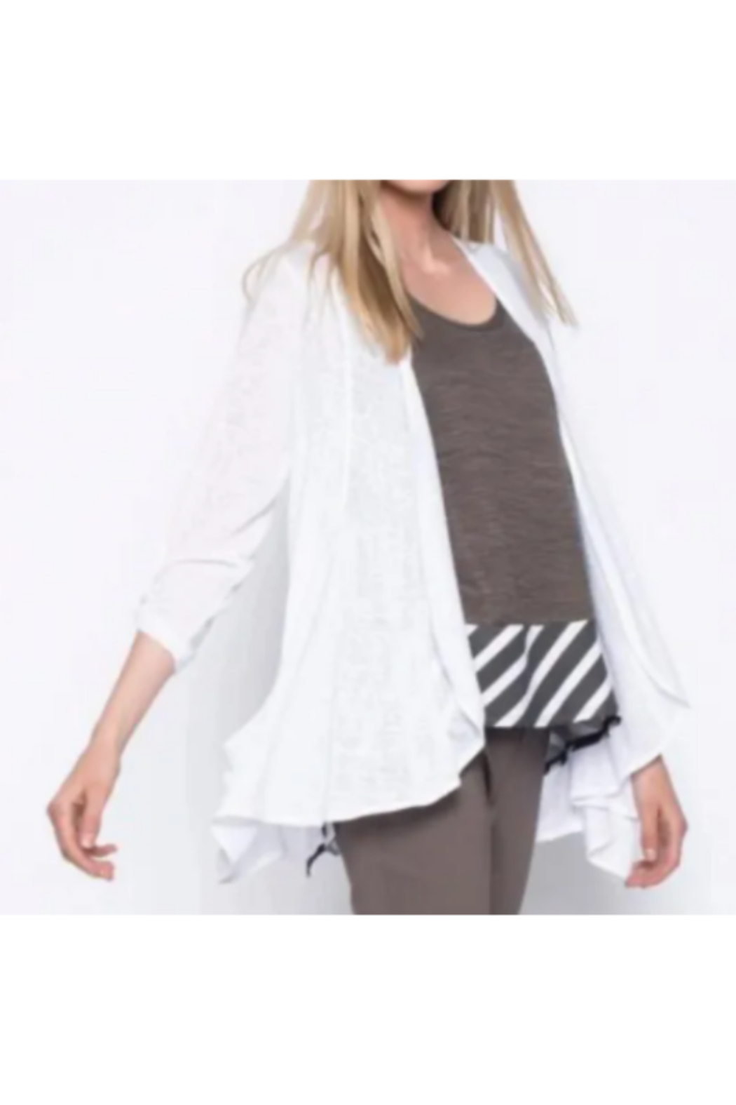 Picadilly Draped Open-Front Jacket with Pockets - Main Image