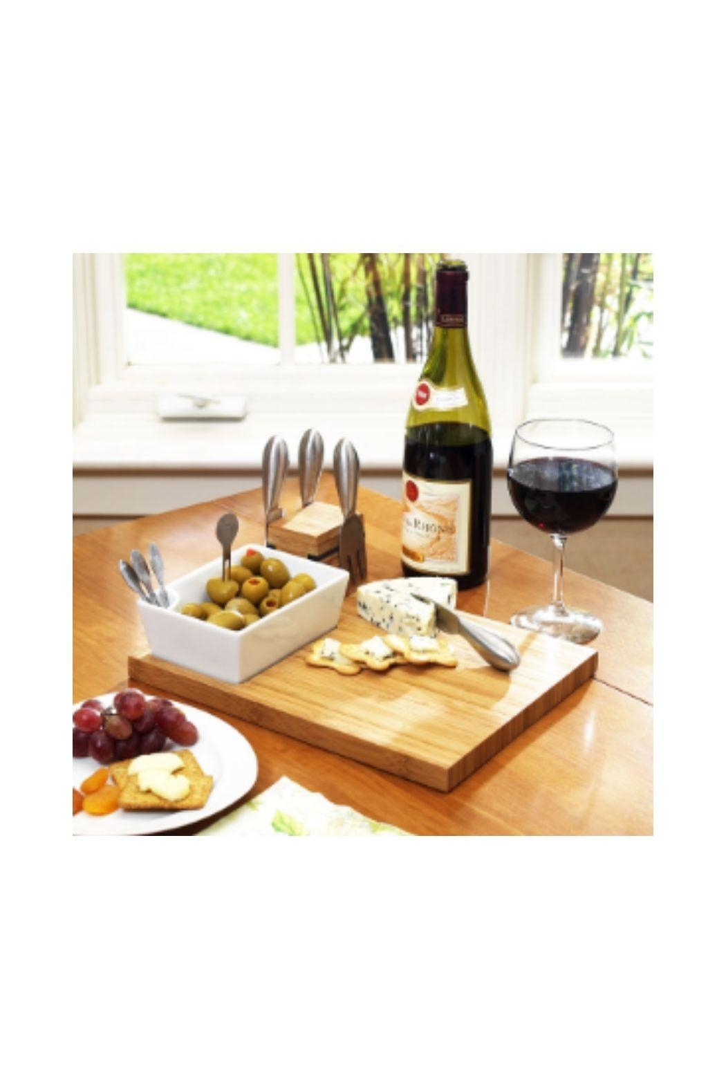 Picnic at Ascot  Custom Engraved Cheese Board - Side Cropped Image