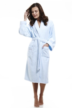 Shoptiques Product: Baby Blue Terry Towelling Ladies Wrap Around Robe