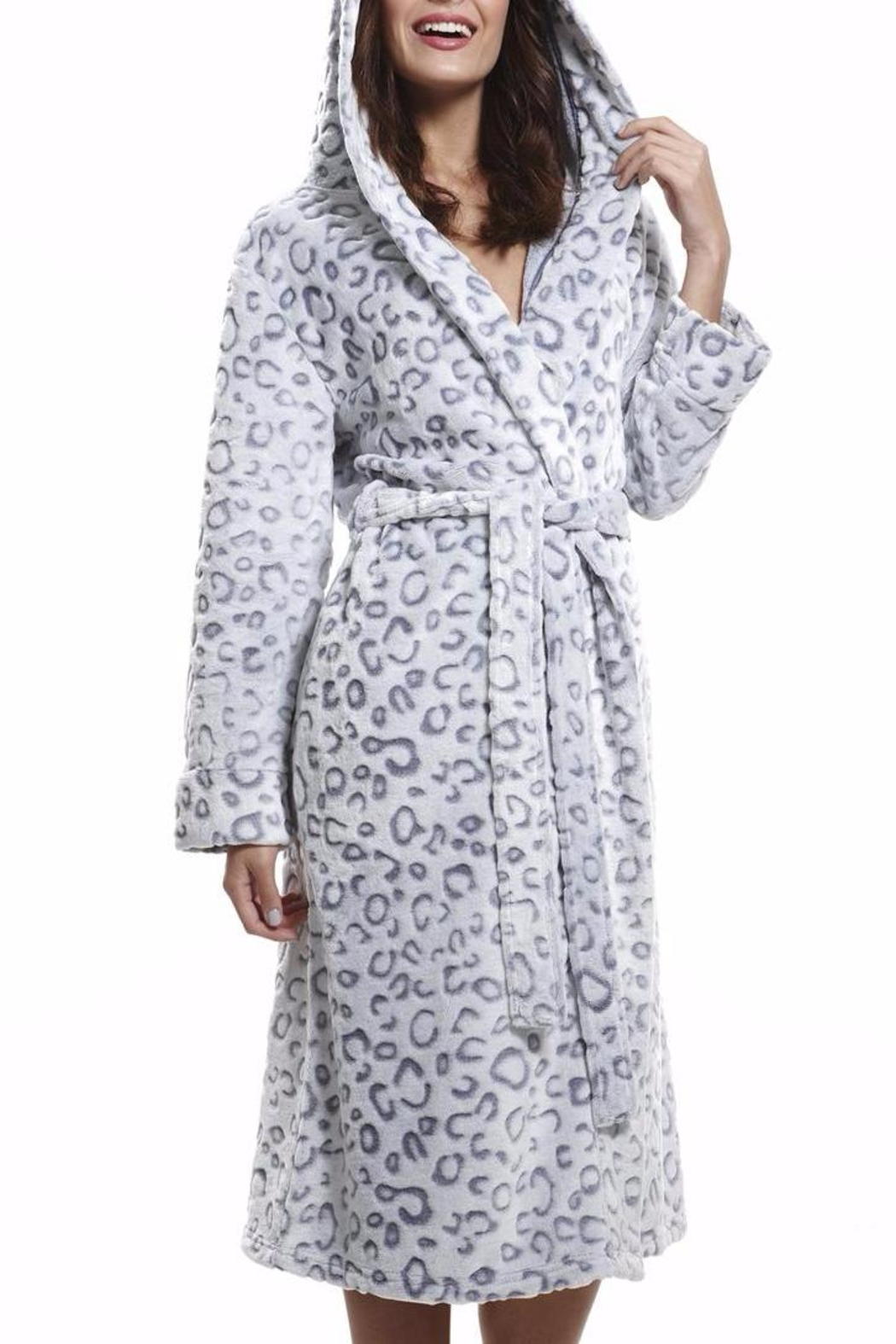 Pierre Cardin Embossed Hooded Gown - Main Image