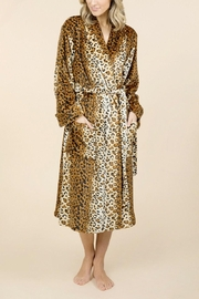 Pierre Cardin Leopard Print Wrap Around Robe - Front cropped