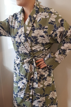 Shoptiques Product: Sage Green Soft Cotton Summer Floral Wrap Around Robe