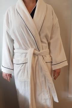 Shoptiques Product: White Toweling Wrap Around Robe With Navy Piping