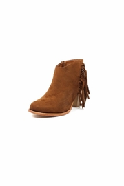 Pierre Dumas Fringe Suede Booties - Front cropped
