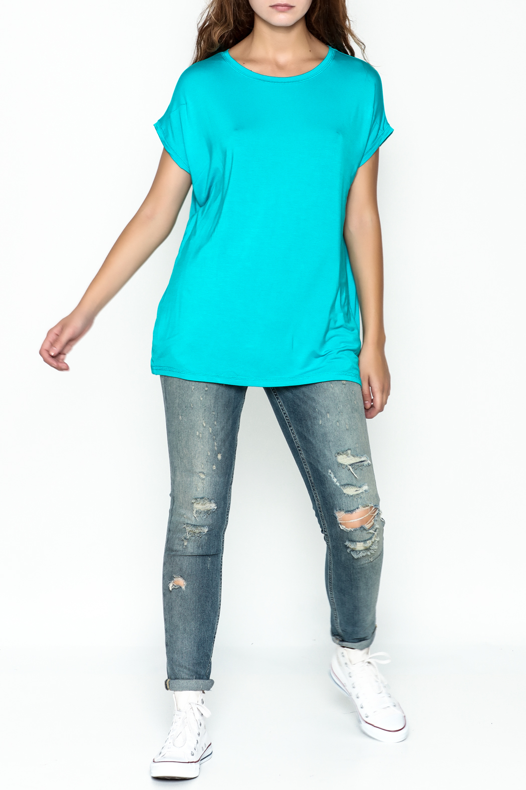 Piko  Bright Blue Top - Side Cropped Image
