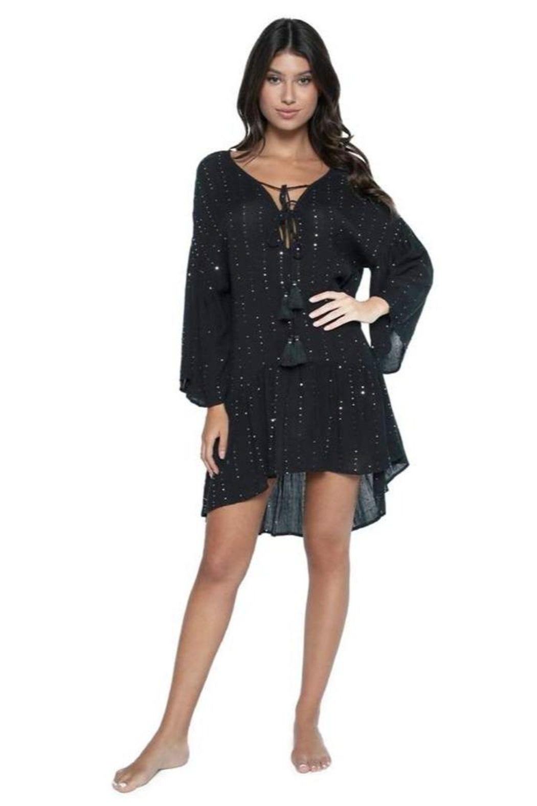 PilyQ Angelica Sequined Tunic - Front Full Image
