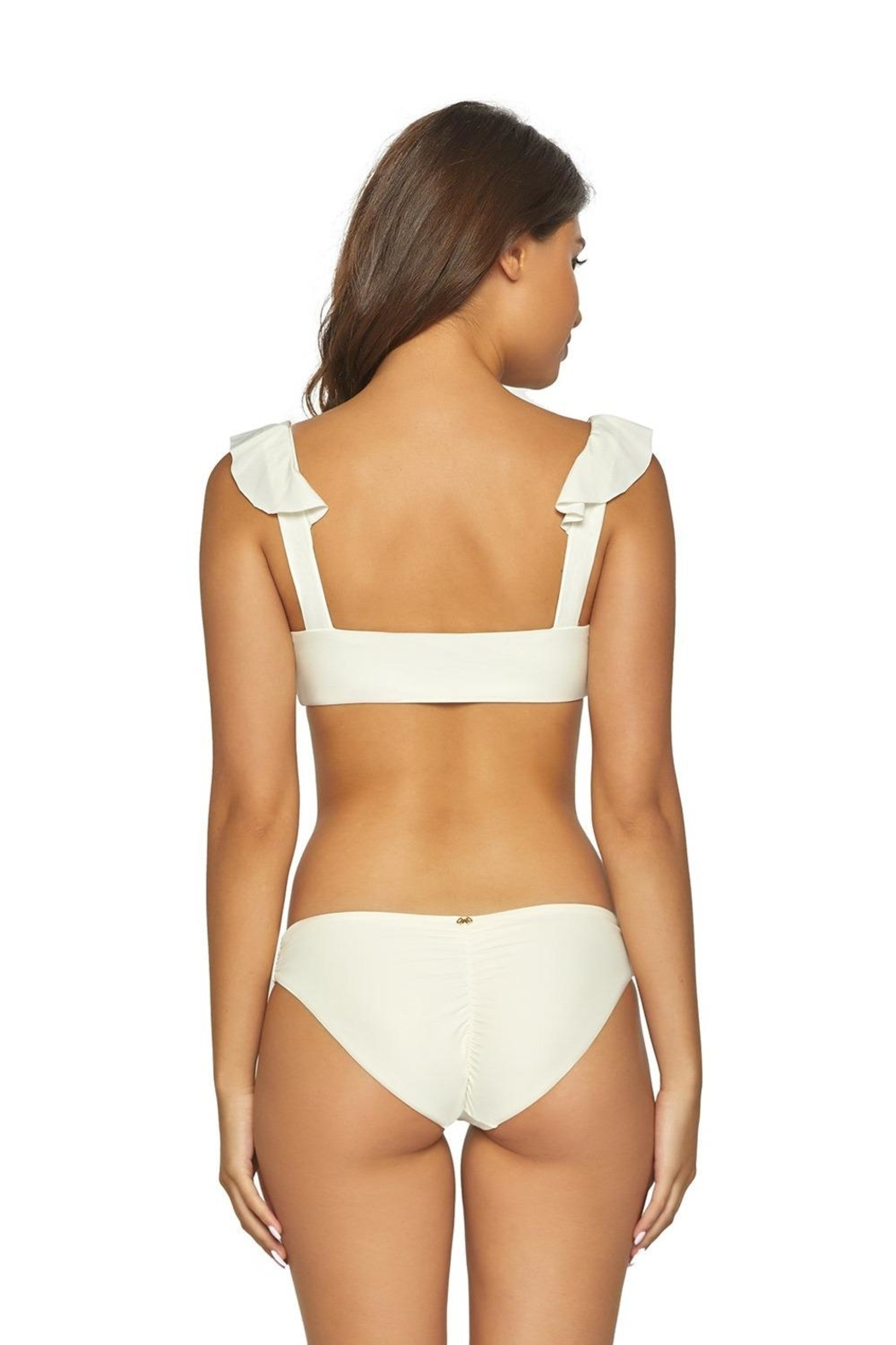 PilyQ Ivory Ruffle Top - Front Full Image