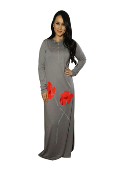 VELVETTE Pima Cotton Nightgown with Floral Buttons - Alternate List Image