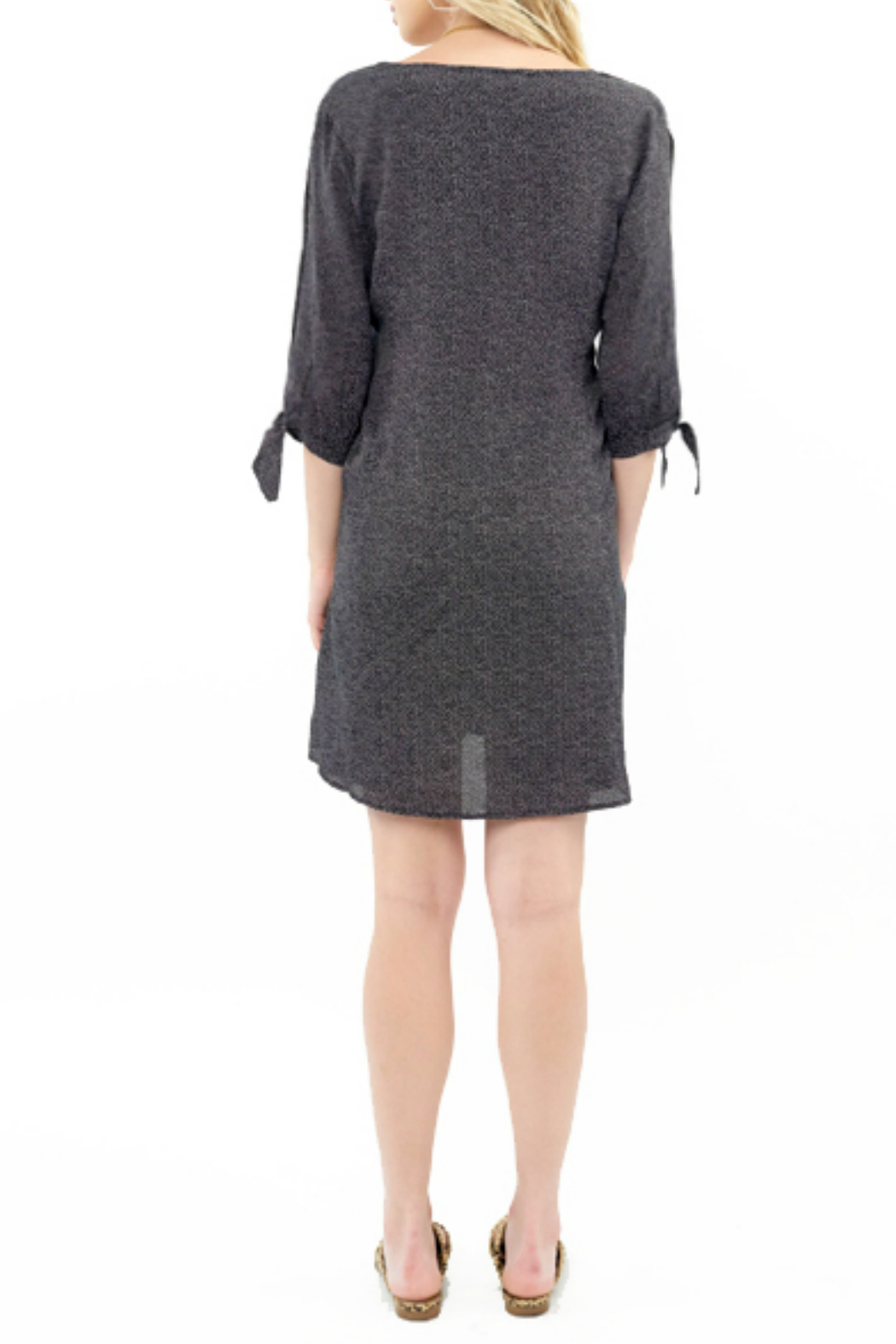 Saltwater Luxe Pin Dot Print Button Front Mini Dress - Front Full Image