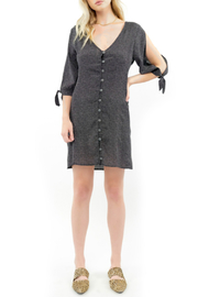 Saltwater Luxe Pin Dot Print Button Front Mini Dress - Product Mini Image