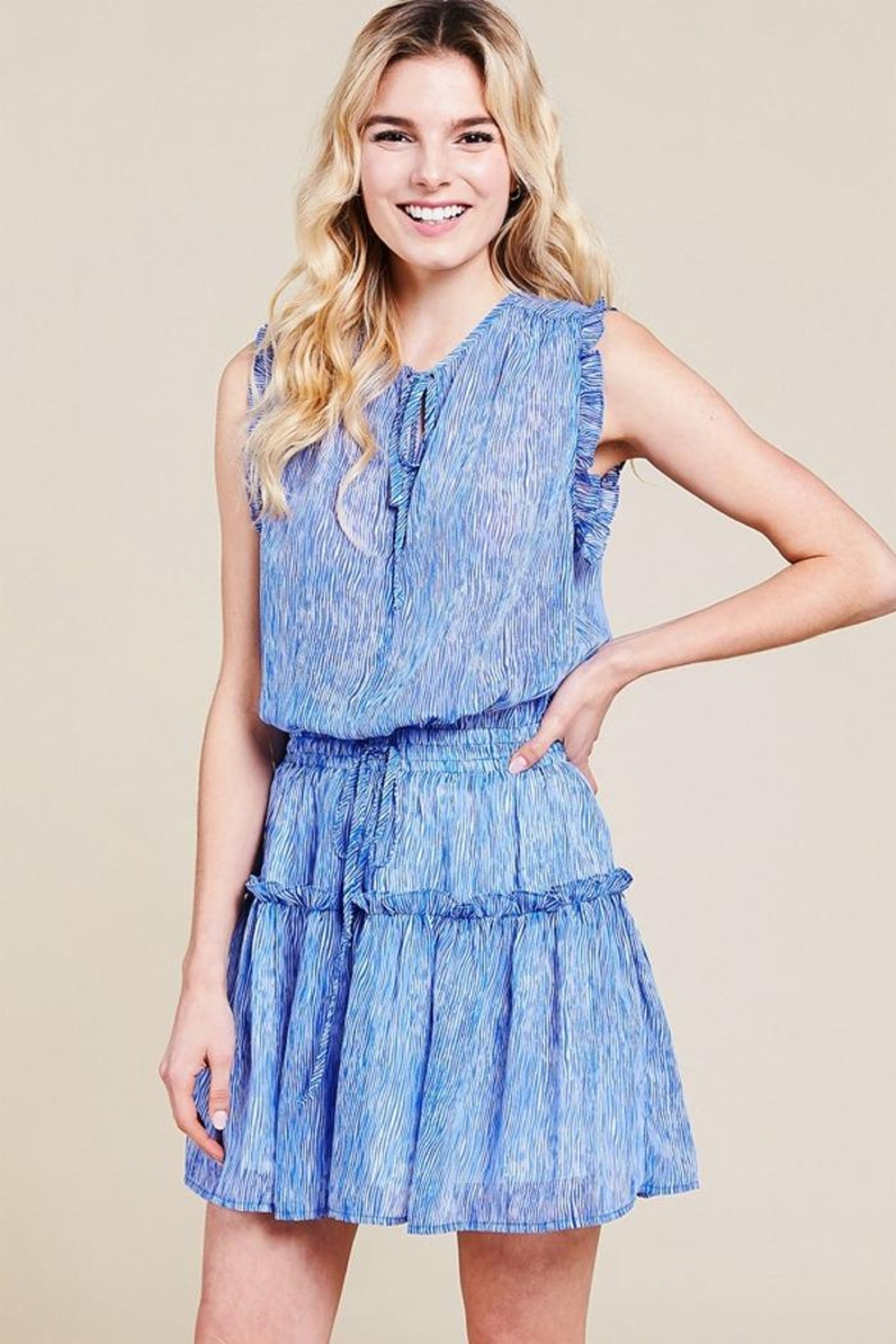 Pinch Sheered Tiered Mini-Dress - Side Cropped Image
