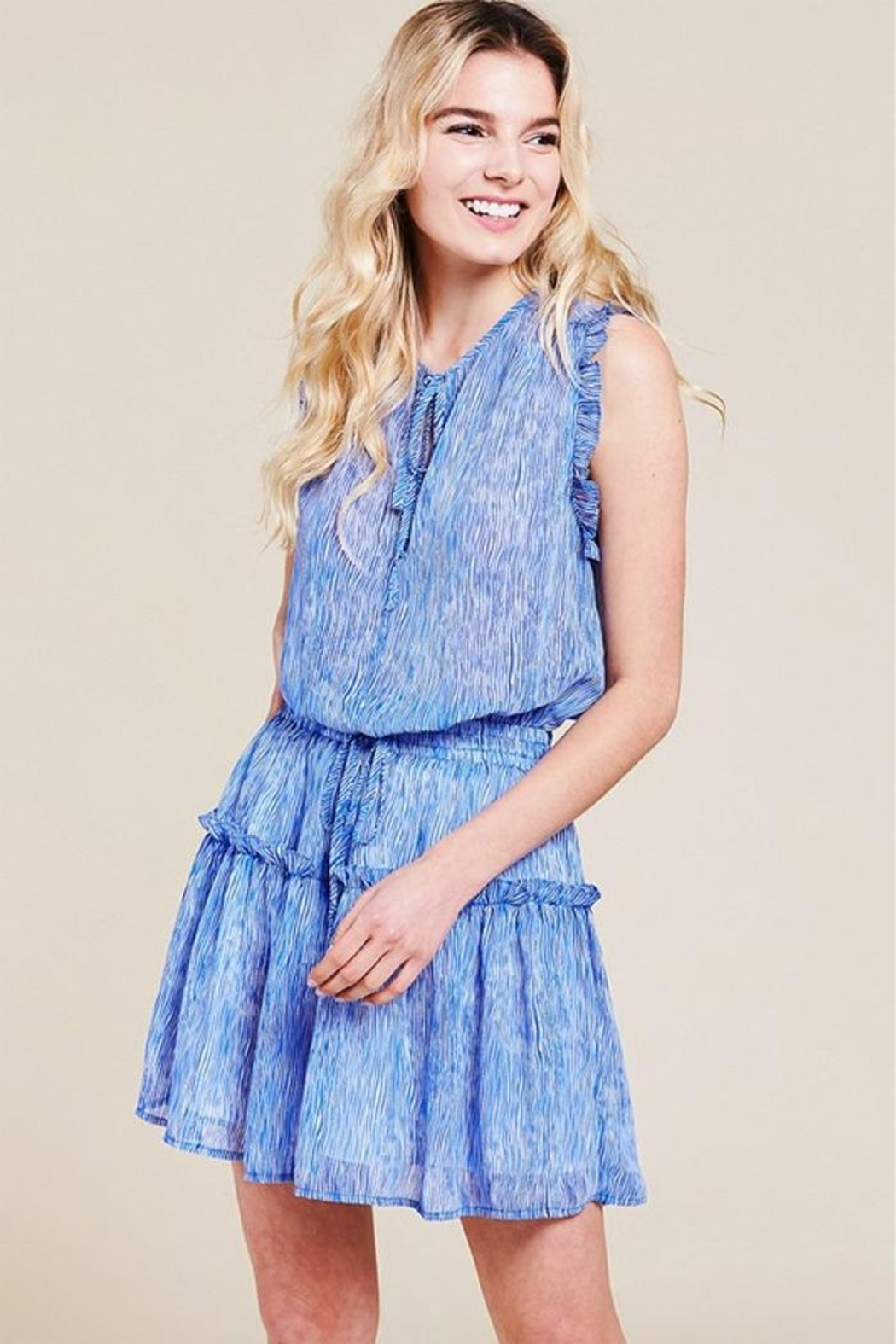 Pinch Sheered Tiered Mini-Dress - Front Full Image